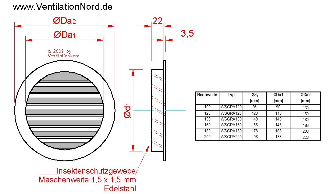 Abluftgitter Ablufthaube NW150 für Dunstabzug Alu